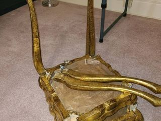 Gold tone tables each missing 2 legs