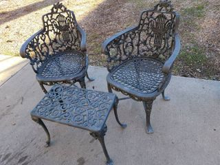 Vintage iron patio chairs with table