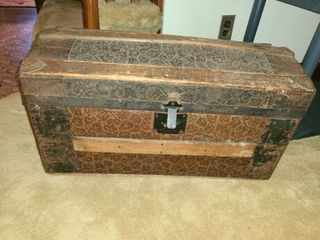 Antique Wooden Trunk  Approximately 14  x 26  x 13
