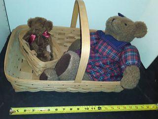 2 lONGABERGER BASKETS and 2 TEDDY BEARS