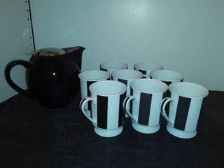 HUES N BREWS POT with 7 Mugs