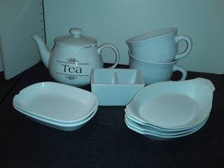 WHITE TEA POT 2 large Mugs  Sugar Caddy and some other items