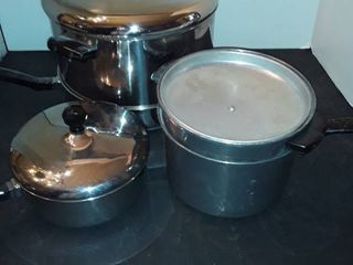 FABERWARE POTS with lIDS and A Skillet also an ENTERPRISE double broiler
