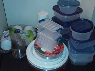 PlASTIC FOOD STORAGE and Paper Plates and Plastic Cups