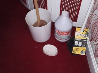Bathroom Trash can  Soap Dish  2 Plungers and Sewer Drain Cleaner