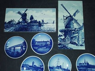 DElFT BlUE trivets tiles and 5 DENMARK small plates