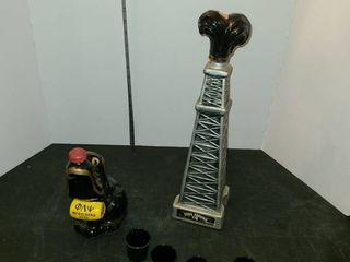 EMPTY liquor Bottles  EZRA BROOKS with 4 SHOT GlASSES  and a HEIDElBERG 1958  Dog  Bottle  Top is broken