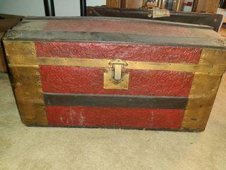 Antique Wooden Trunk  Approx  13  x 26  x 13  Needs TlC