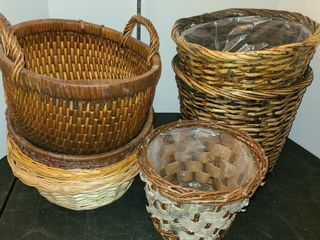 WICKER BASKETS and 3 WICKER TRASH CANS