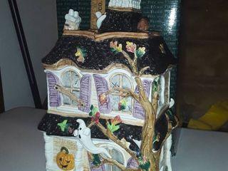 Fitz   Floyd Halloween Harvest Hooty House cookie jar