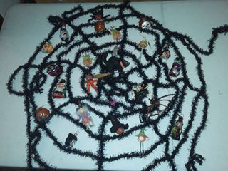 Halloween decor including Studio 56 ornaments
