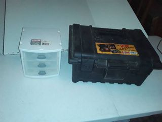 small 3 drawer storage bin and a 16 in deep tool box