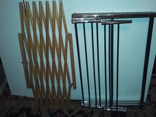 clothes drying rack with wood baby gate