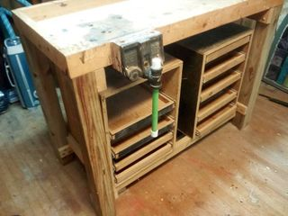 Wooden Workbench with Cubby and Drawer Storage and Vices