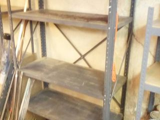Gray metal shelving unit