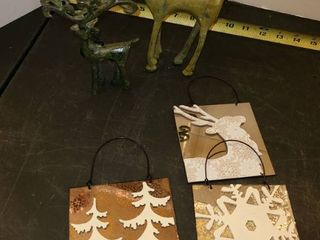 Reindeer Figurines and 2 Mirrored Ornaments