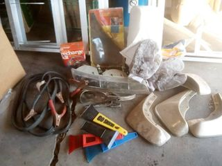 assorted vehicle parts and oldsmobile headlight