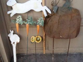 Bunny  pumpkin and sunflower metal yard art