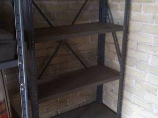 gray metal shelves