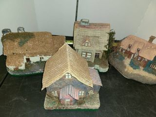 4 Pcs  Paper Mache Cottages