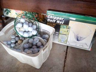 Chipper golf net and golf balls