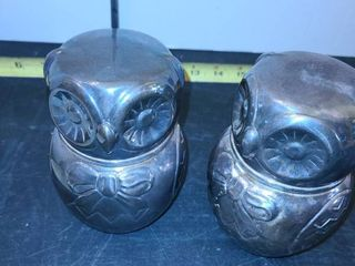 2 Owl Shaped Banks  Silverplated