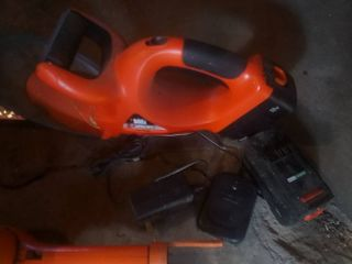 Black and Decker 18V hedgehog trimmer with one charger and two batteries and other trimmers
