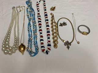 ladies jewelry seven necklaces  two pairs of matching earrings and one watch
