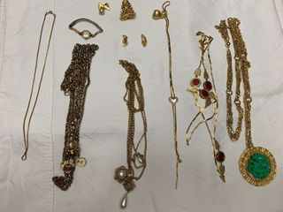ladies jewelry   7 necklaces  one watch and five pins