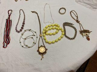 ladies jewelry   Eight necklaces and one bracelet