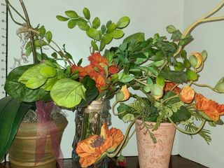 3 Faux Flower Pots with Flowers