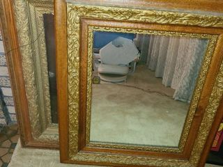Framed Mirror 30 x 26 in with Matching Frame for Picture 31 x 27 in