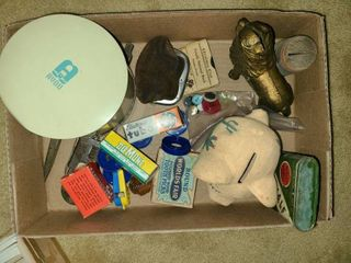 ANTIQUE lot of MISCEllANEOUS TOYS  BANKS  and other MISC