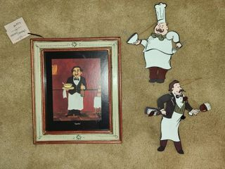 Gaston Framed Wall Decor 13 x 11 in with Pair of Metal Chef Decor