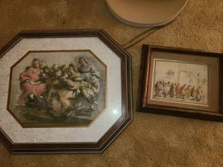 Giorgione Framed Art 19 x 22 in with Guardi Framed Art 10 x 12 in