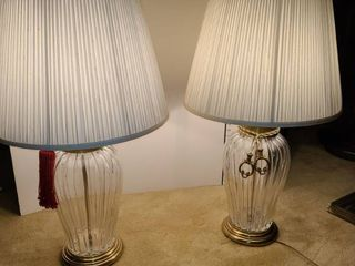 Pair of Glass and Metal Table lamps