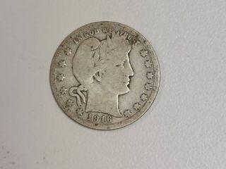 1916 D Barber Silver Quarter