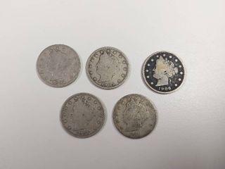 5 liberty Head  V  Nickels   1899  1905  1906  1907  1911