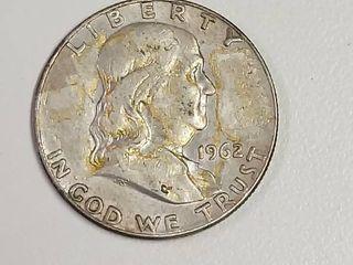 1962 D Franklin Silver Half Dollar