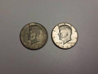 2  Kennedy Silver Clad Half Dollars   1966  1967