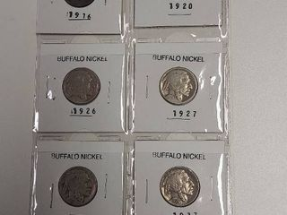 Card of 6 Buffalo Nickels   1916  1920  1926  1927  1929  1937