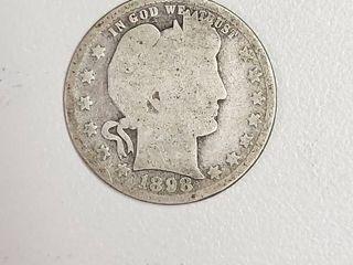 1898 Barber Silver Quarter