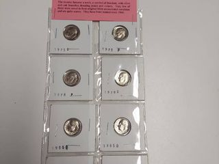 Card of 8 Brilliant Uncirculated Roosevelt Dimes