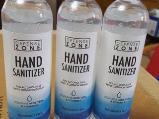 3  8 0z  hand sanitizer  fragrance free  contains Aloe Vera and Vitamin E