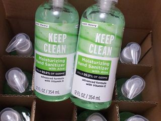 12  12 fl  oz  bottles of moisturizing hand sanitizer with aloe and vitamin E
