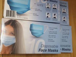 Four 10 ct  pkg  disposable face masks