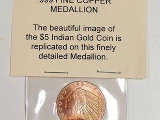 1 4 Troy Ounce  999 Fine Copper Medallion