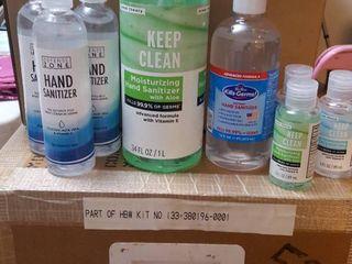 8 assorted hand sanitizers  One 34 oz  one 16 oz  three 8 oz    three 3 oz  bottles