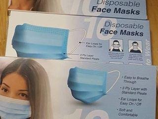 Three  10 ct  pkg  disposable face masks