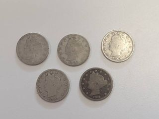 5 liberty Head  V  Nickels   1901  1902  1906  1907  1911